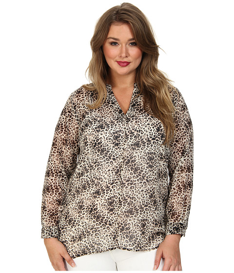 Vince Camuto Plus - Plus L/S Animal Legacy Blouse (Rich Black) Women