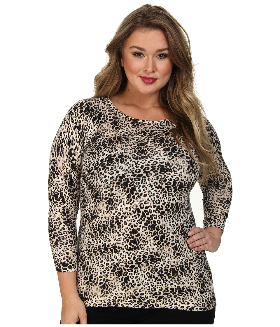 Vince Camuto Plus - Plus L/S Boatneck Animal Legacy Print Sweater (Rich Black) Women's Sweater