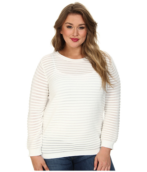 Vince Camuto Plus - Plus L/S Ottoman Stitch Sweater (New Ivory) Women