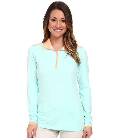 Nike Golf - Lucky Azalea Mesh 1/2 Zip (Artisan Teal/Sunset Glow/Sunset Glow) Women's Long Sleeve Pullover