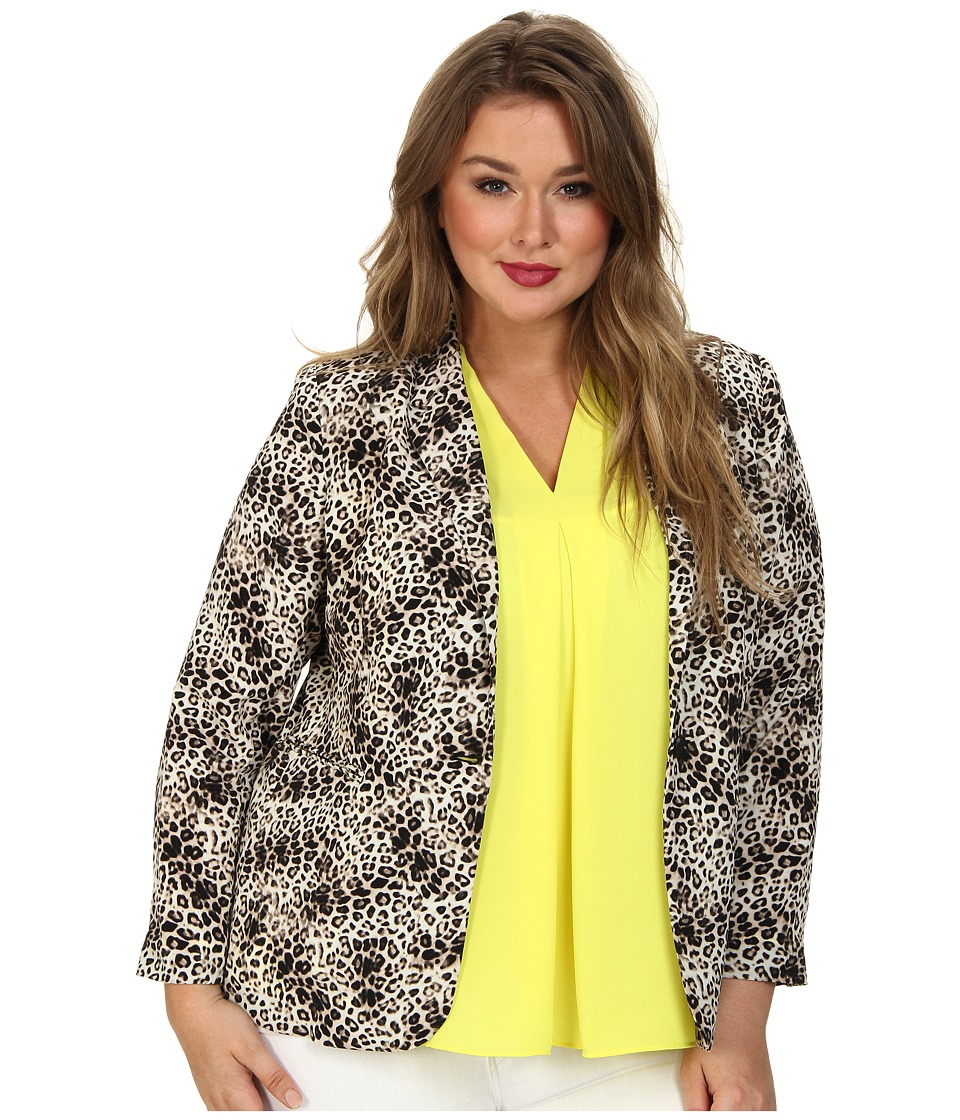 Vince Camuto Specialty Size - Plus One Button Animal Legacy Blazer (Rich Black) Women's Jacket plus size,  plus size fashion plus size appare