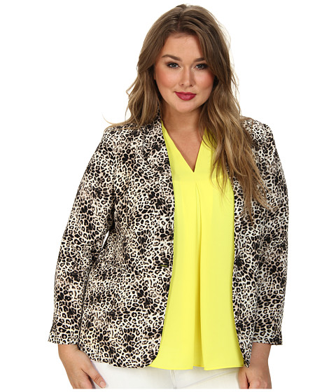 Vince Camuto Plus - Plus One Button Animal Legacy Blazer (Rich Black) Women