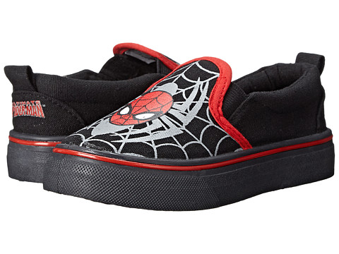 Favorite Characters - Spider-man 1SPS702 Canvas Slip-on (Toddler/Little Kid) (Black/Red) Boys Shoes