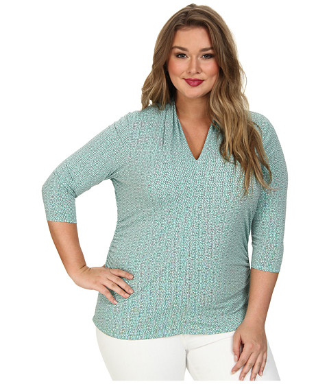 Vince Camuto Plus - Plus 3/4 Sleeve Pleat V-Neck Pebbles Top (Pale Turquoise) Women's Clothing