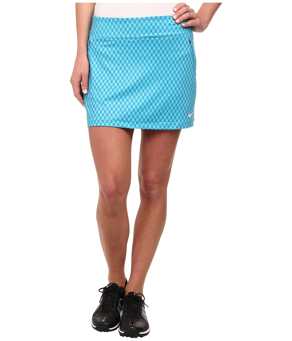 Nike Golf - Nike Gingham Flight Skort (Clearwater/Blue Lagoon/Blue Lagoon/White) Women's Skort
