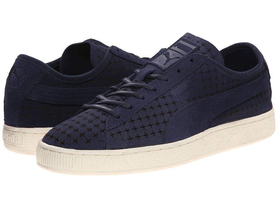 PUMA Sport Fashion - Suede Courtside Perf (Peacoat) Men