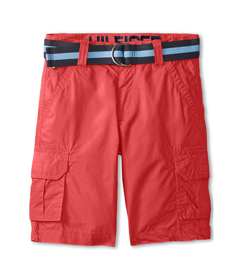 Tommy Hilfiger Kids - Back Country Belted Cargo Short (Big Kids) (Red Geranium) Boy