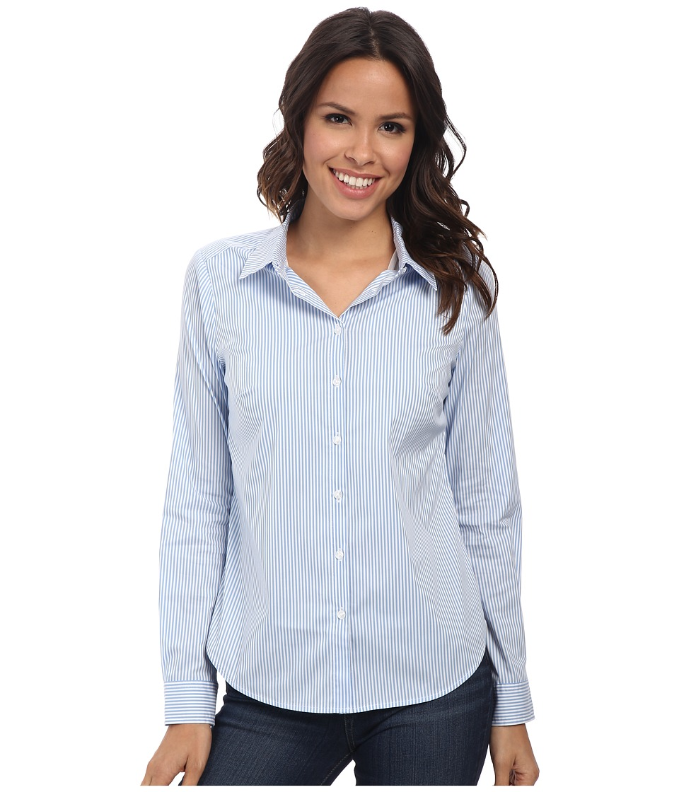 NYDJ - Fit Solution Stripe Shirt (Light Blue Bonnet) Women's Long Sleeve Button Up