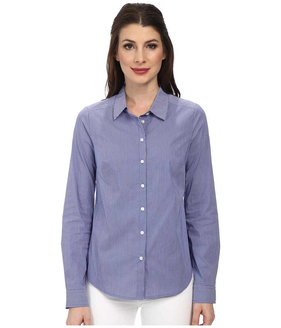 NYDJ - Fit Solution Stripe Shirt (Majesty Blue) Women's Long Sleeve Button Up