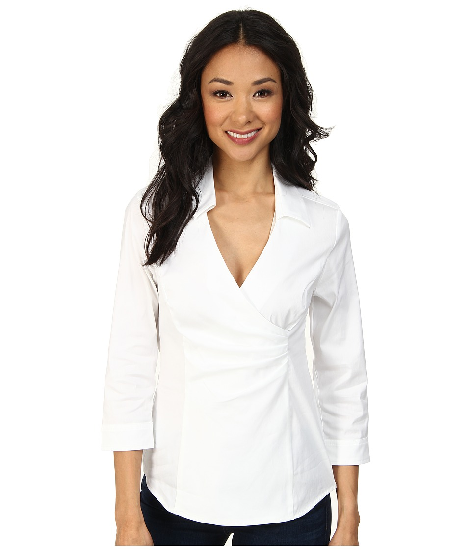 NYDJ - Fit Solution Wrap Blouse (Optic White) Women's Blouse