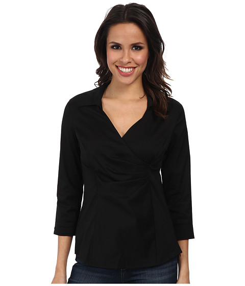 NYDJ - Fit Solution Wrap Blouse (Black) Women