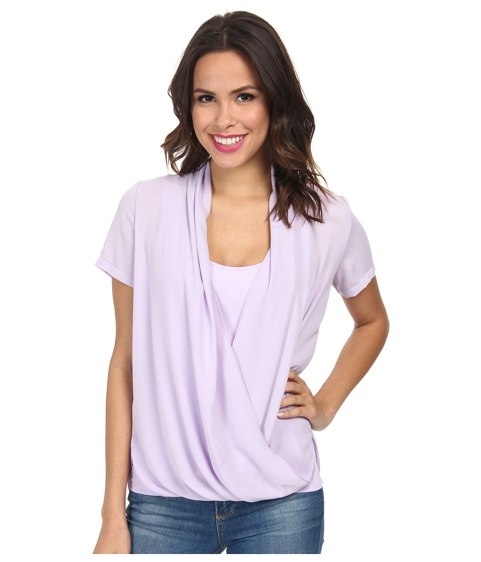 NYDJ - Fit Solution Two-Fer Top (Lilac Frost) Women's Short Sleeve Pullover