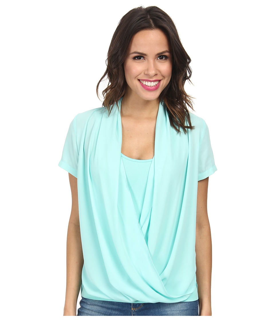 NYDJ - Fit Solution Two-Fer Top (Seafoam) Women's Short Sleeve Pullover
