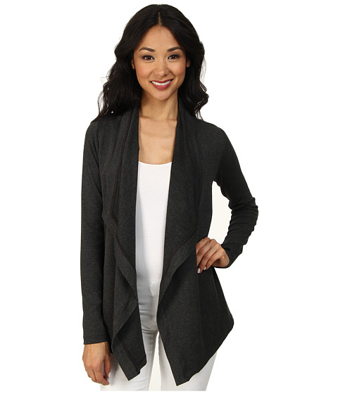 NYDJ - City/Sport Drape Front Cardigan (Dark Heather Grey) Women's Sweater
