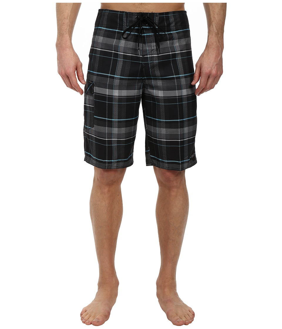 O'Neill - Santa Cruz Plaid Boardshorts (Black) Men's Swimwear