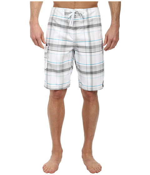 O'Neill - Santa Cruz Plaid Boardshorts (White) Men's Swimwear