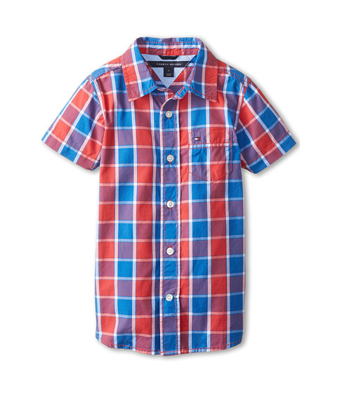 Tommy Hilfiger Kids - Benjamin S/S Plaid Woven (Toddler/Little Kid) (Bleached Red) Boy