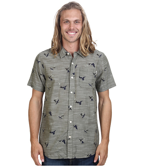 O'Neill - Gully Wovens (Charcoal) Men's Short Sleeve Button Up