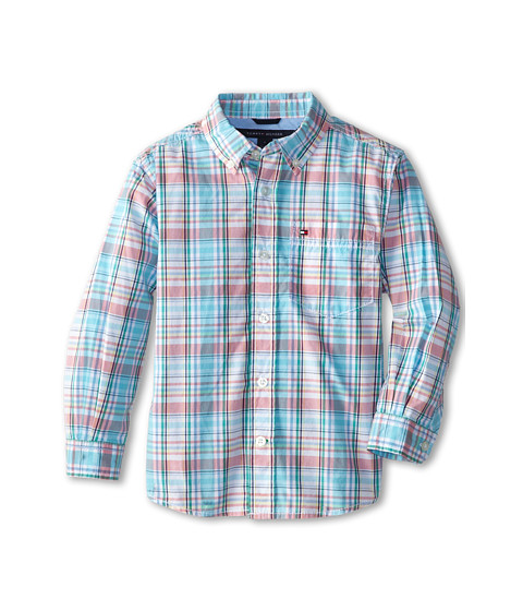 Tommy Hilfiger Kids - Aaron Yarn Dye Poplin Shirt (Toddler/Little Kid) (White) Boy's Clothing