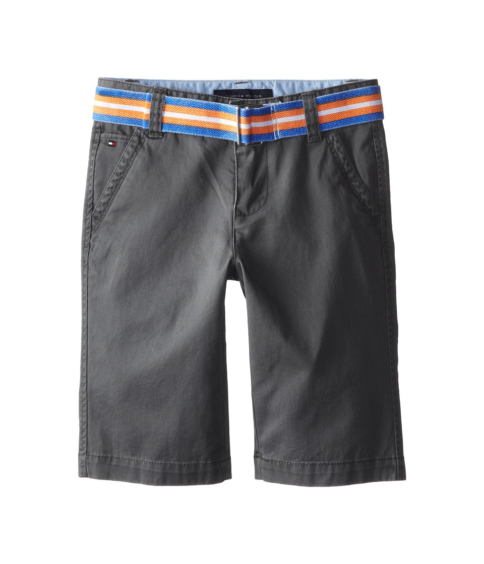 Tommy Hilfiger Kids - Twill Short Printed Belt (Big Kids) (As Is Grey) Boy's Shorts
