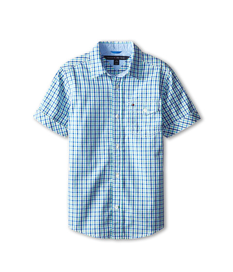 Tommy Hilfiger Kids - Prep Check Woven Shirt (Big Kids) (Blue Jean) Boy's Short Sleeve Button Up