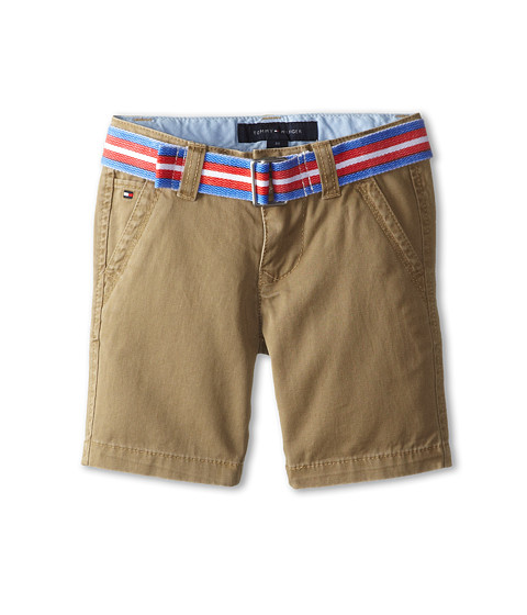 Tommy Hilfiger Kids - Twill Short Printed Belt (Toddler/Little Kid) (Light Buff) Boy's Shorts