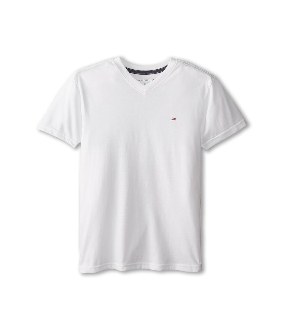 Tommy Hilfiger Kids - Tommy CVC V-Neck Tee (Big Kids) (White) Boy's T Shirt