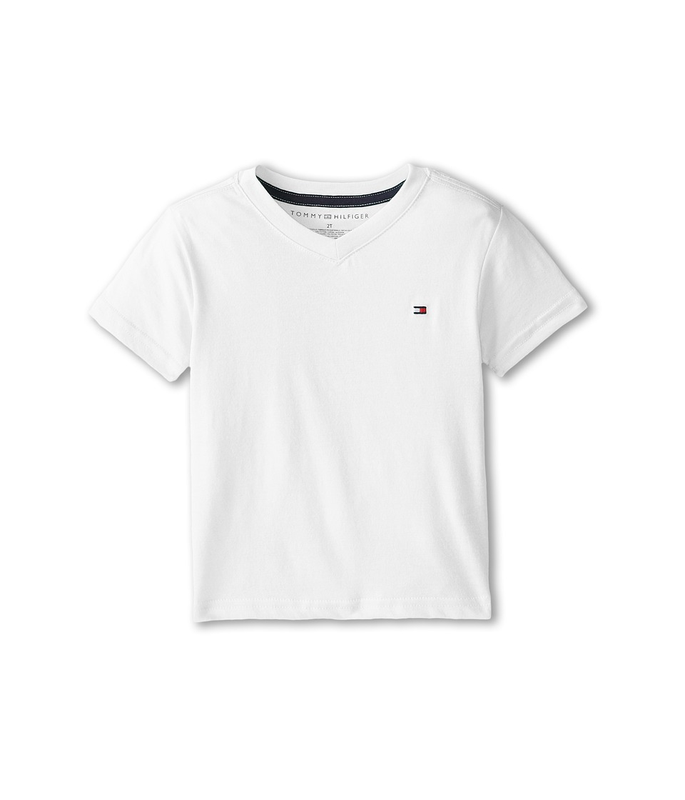 Tommy Hilfiger Kids - Tommy CVC V-Neck Tee (Toddler/Little Kid) (White) Boy's T Shirt