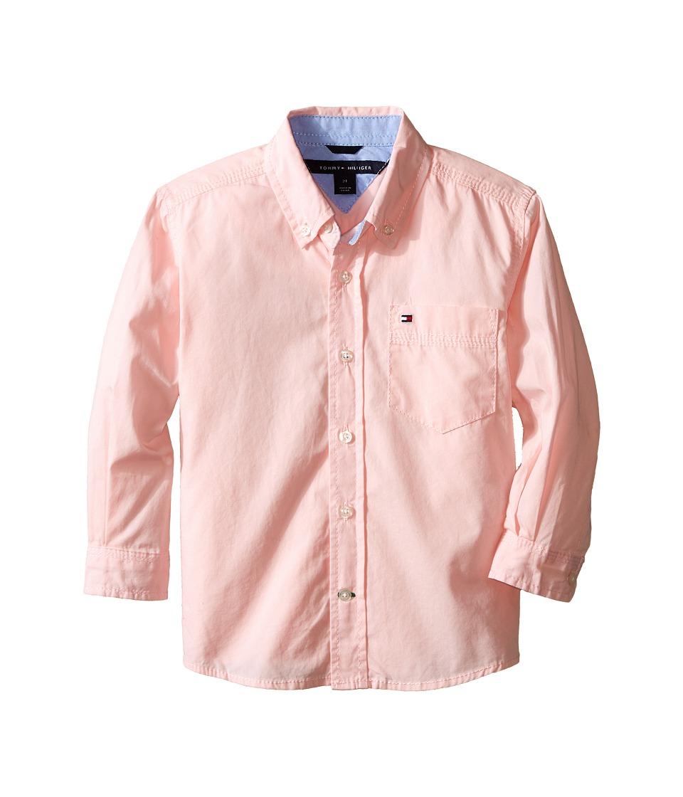 Tommy Hilfiger Kids - Classic L/S Woven Shirt (Toddler/Little Kid) (Pink Lemonade) Boy's Long Sleeve Button Up