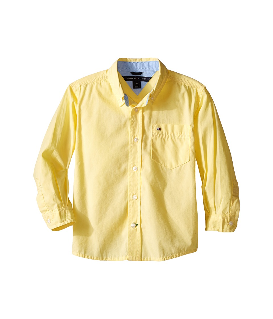 Tommy Hilfiger Kids - Classic L/S Woven Shirt (Toddler/Little Kid) (Sunny) Boy's Long Sleeve Button Up