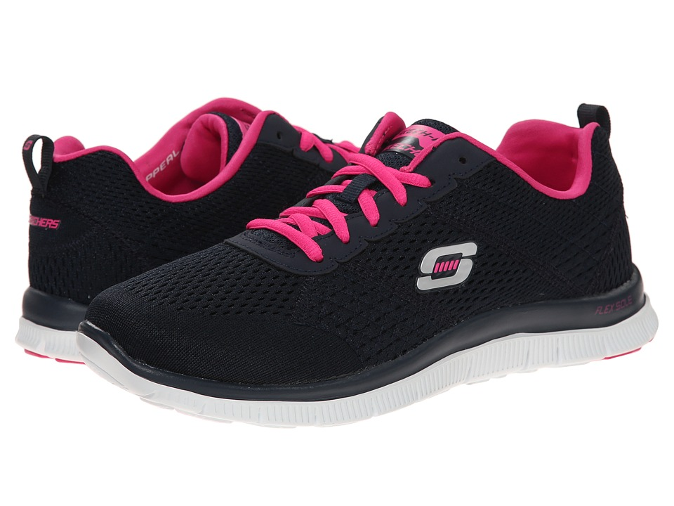 SKECHERS - Flex Appeal - Obvious Choice (Navy/Pink) Women's Running Shoes