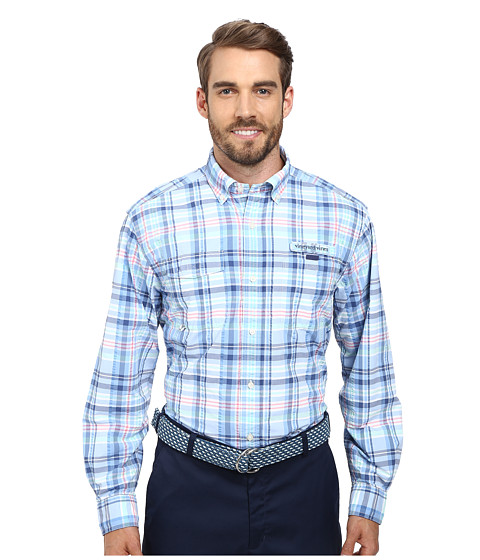 Vineyard Vines - Gustaf Plaid Harbor Shirt (Ocean Breeze) Men