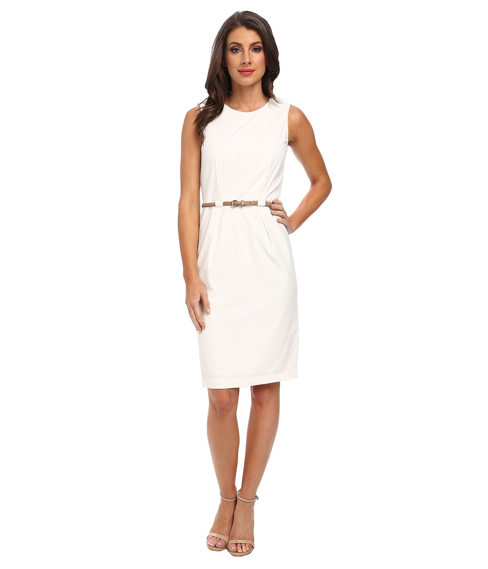 Calvin Klein - Belted Sheath Dress (Cream) Women's Dress