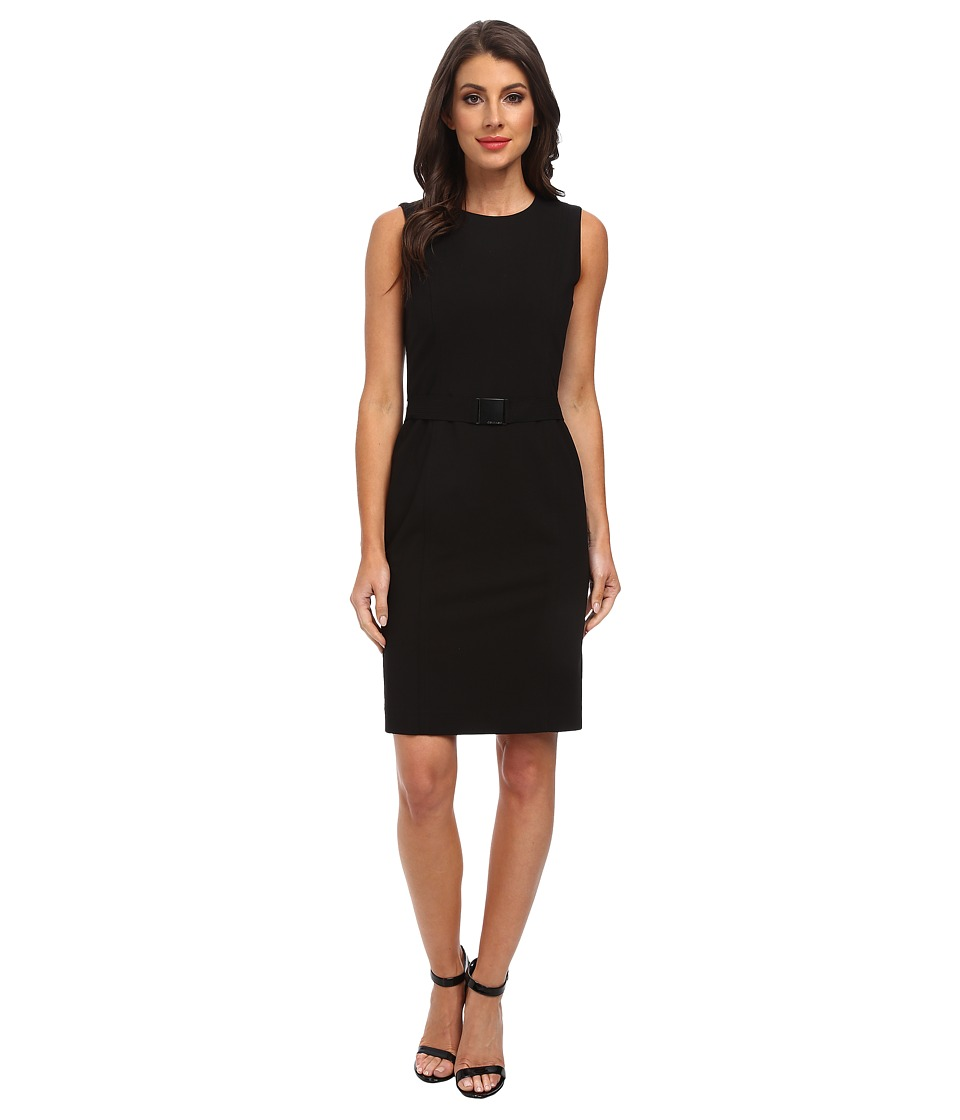 Calvin Klein - Belted Sheath Dress (Black) Women