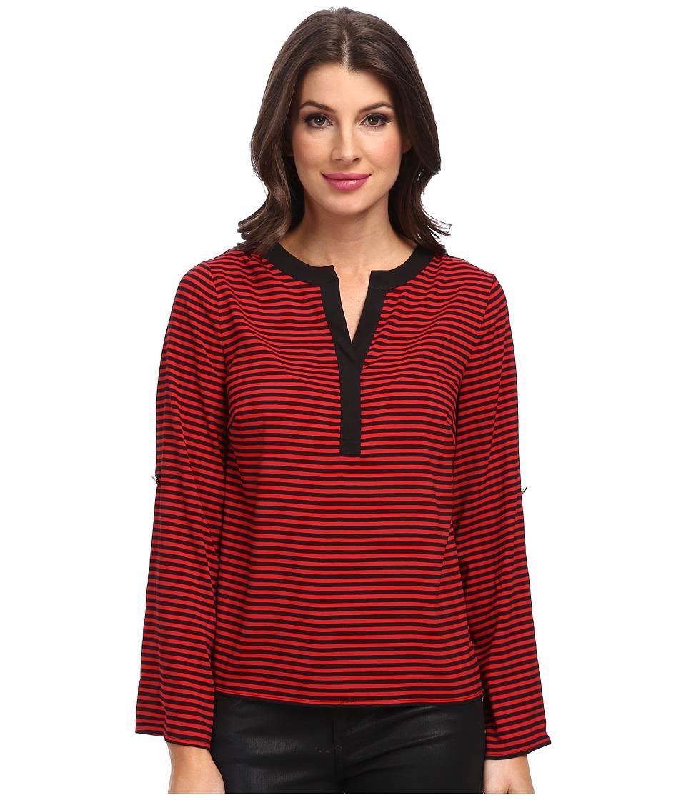 Calvin Klein - Striped Roll Sleeve Blouse (Red/Black) Women's Blouse