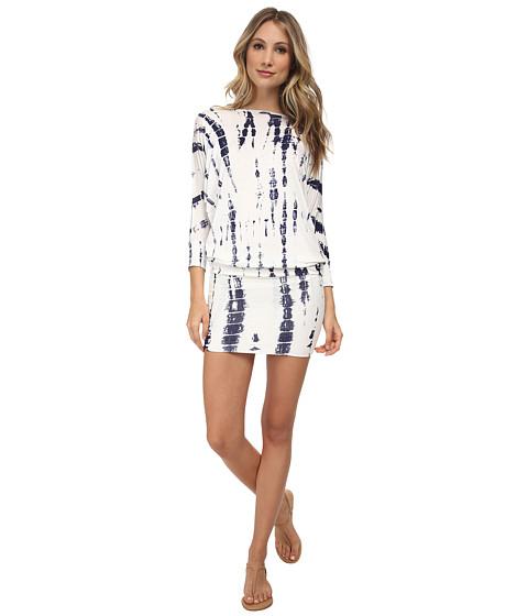 Culture Phit - Millie 3/4 Sleeve T-Shirt Dress (White Tie-Dye) Women