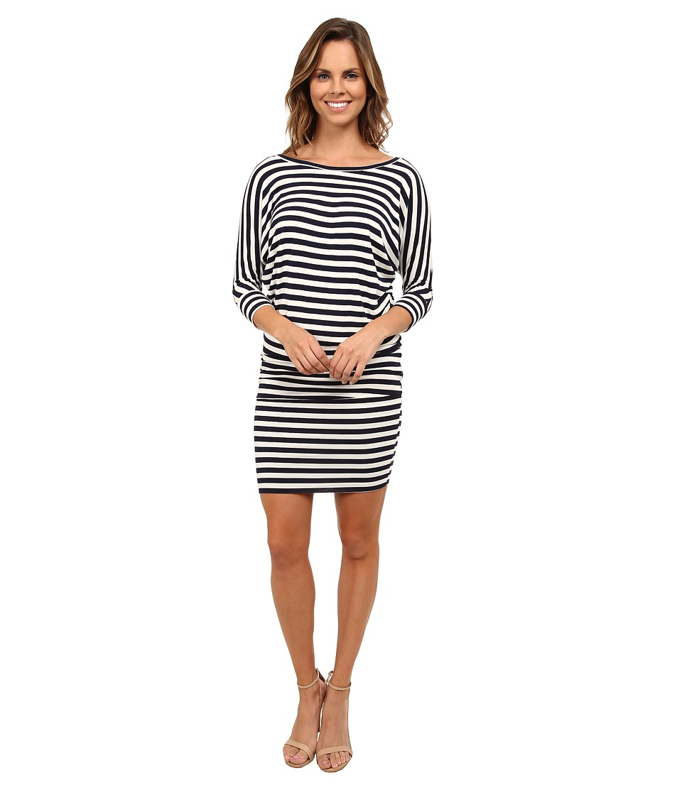 Culture Phit - Millie 3/4 Sleeve T-Shirt Dress (Navy/White Stripe) Women