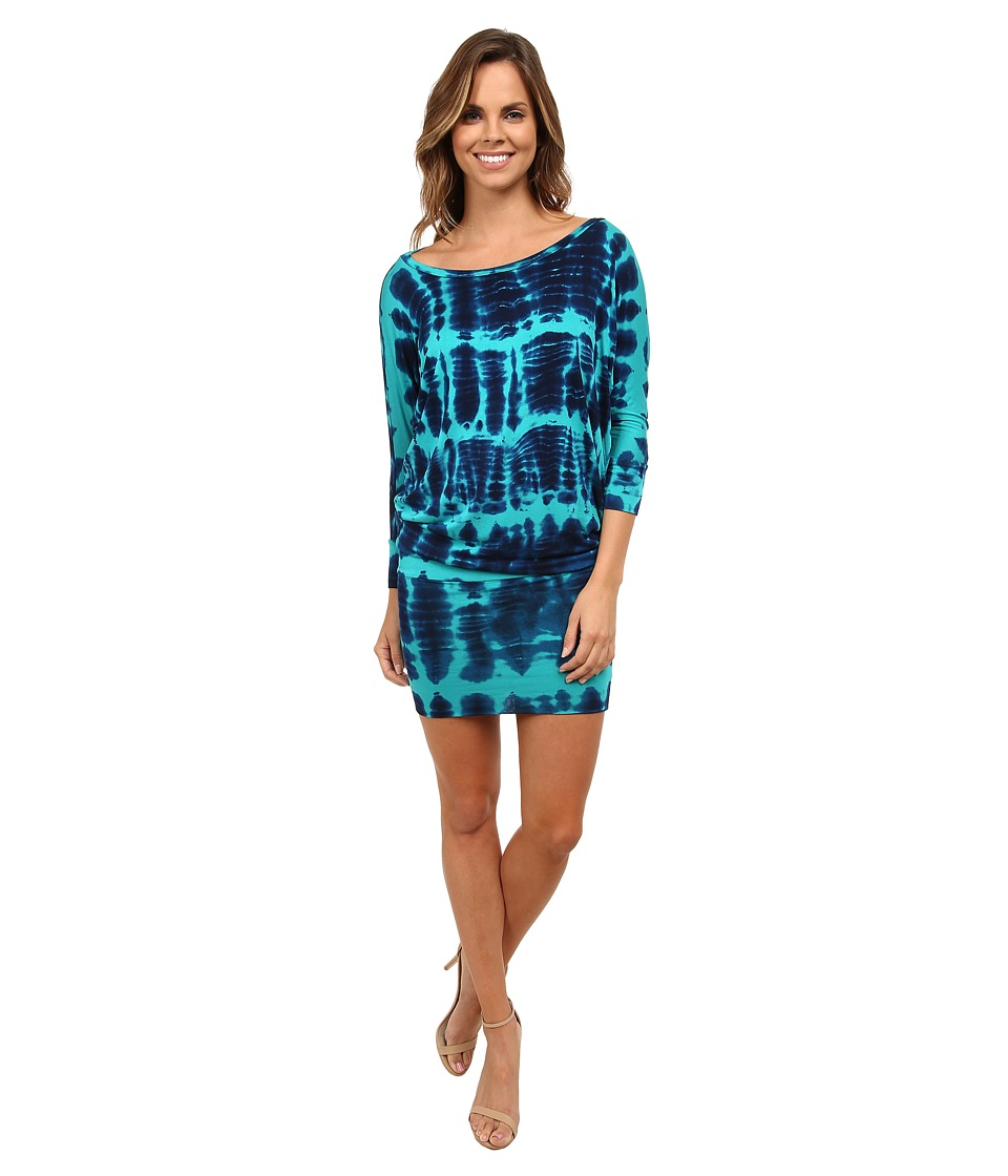 Culture Phit - Millie 3/4 Sleeve T-Shirt Dress (Teal Tie-Dye) Women's Dress