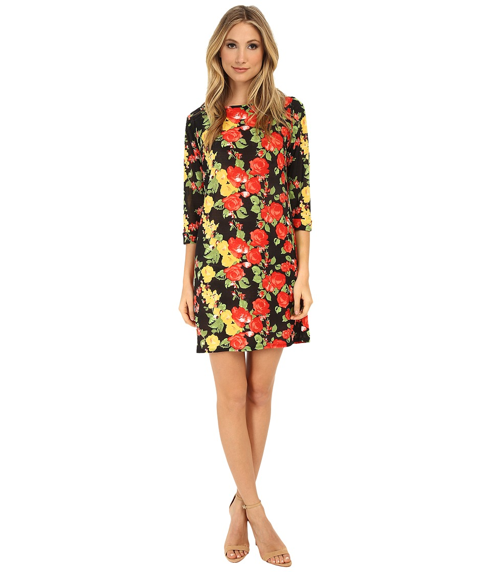 Gabriella Rocha - Vanessa Shift Dress (Black/Red Floral) Women's Dress