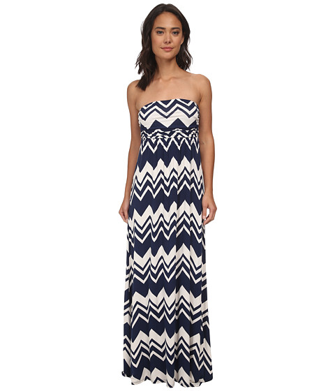 Culture Phit - Hally Dress (Navy/Ivory Chevron) Women
