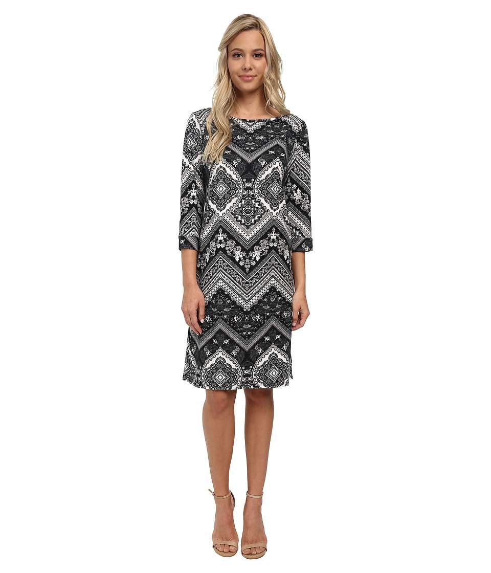 Christin Michaels - Susan Print Shift Dress (Black Multi) Women
