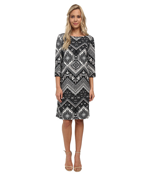 Christin Michaels - Susan Print Shift Dress (Black Multi) Women's Dress
