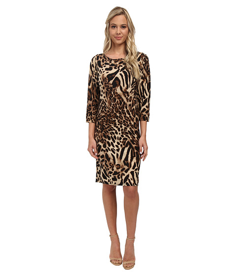 Christin Michaels - Susan Print Shift Dress (Brown Leopard) Women's Dress