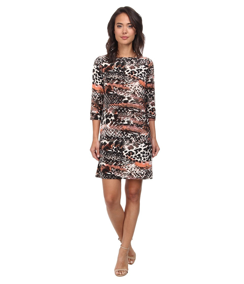 Christin Michaels - Susan Print Shift Dress (Brown/Peach) Women