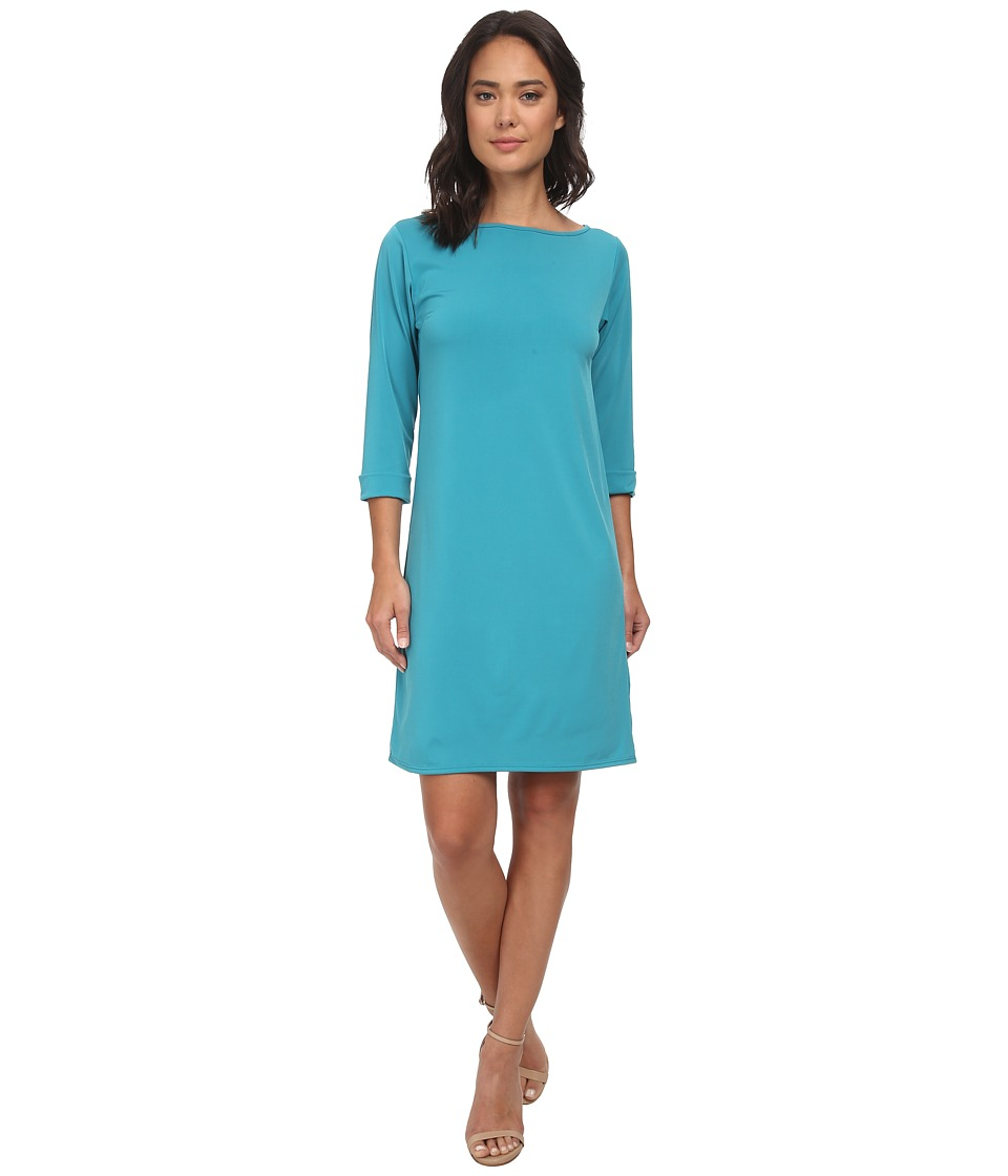Christin Michaels - Susan Print Shift Dress (Teal) Women's Dress