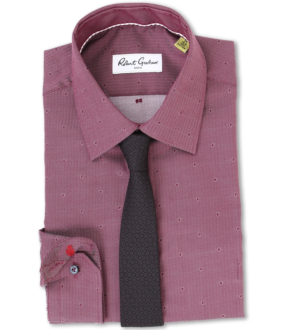 Robert Graham Jack Dress Shirt Burgundy Mens Long Sleeve Button Up