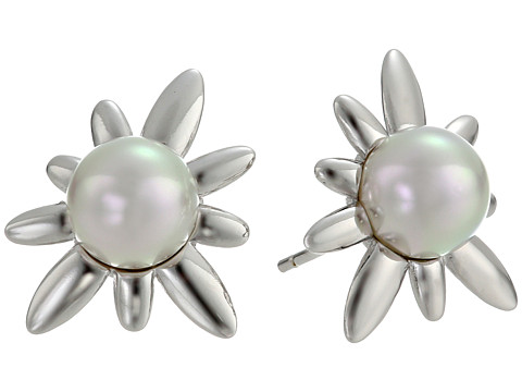 Majorica - 8mm SS Spike Earrings (White) Earring
