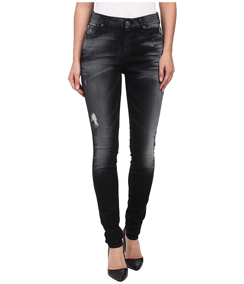 7 For All Mankind - The Highwaist Skinny w/ Contour Waistband in Slim Illusion Ultimate Icy Black (Slim Illusion Ultimate Icy Black) Women's Jeans