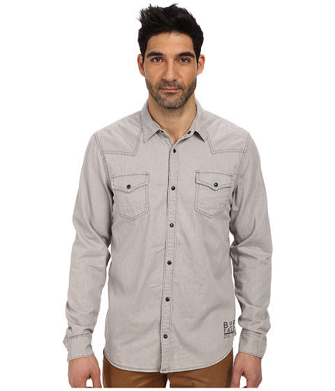 Buffalo David Bitton - Sassville Denim Twill Shirt In Light Grey (Charlie) Men's Clothing