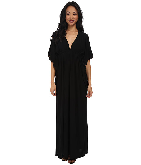 Tbags Los Angeles - Open Sleeves Bat Wing Maxi Dress with Cutout Back (Black) Women's Dress